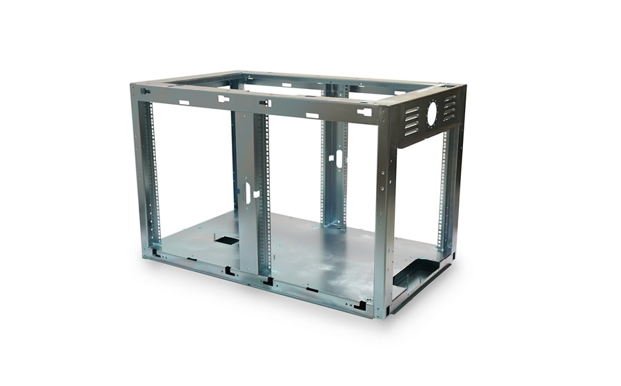 A steel frame for an enclosure