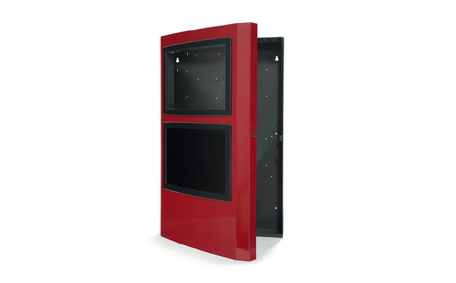 A metal enclosure with powder-coated finish in black and red.